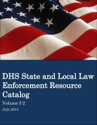 DHS State and Local Law Enforcement Resource Catalog, Volume I-2