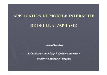 application du modele interactif de delll a l'aphasie - ampra
