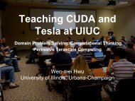 Teaching CUDA and Tesla at UIUC