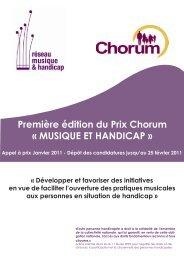 Première édition du Prix Chorum « MUSIQUE ET ... - CIDES - Chorum