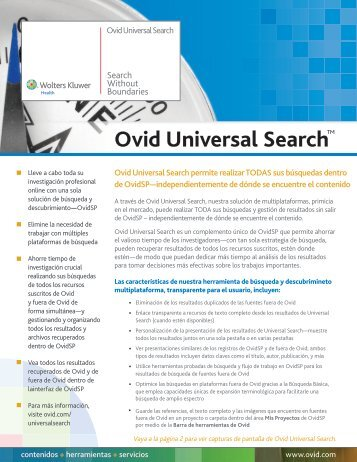 Ovid Universal Search™ - the Ovid Resource Center