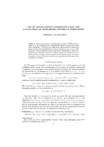 USE OF MULTICOMPLEX MATHEMATICS FOR THE ...
