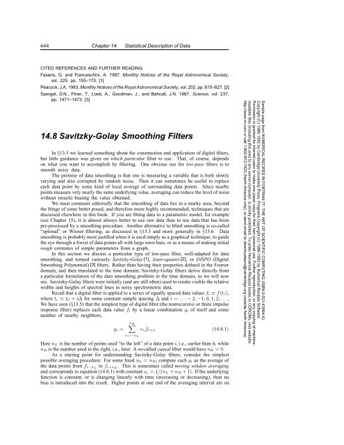 14 8 Savitzky-Golay Smoothing Filters