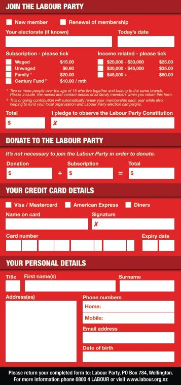 membership DL form.indd - Labour Party