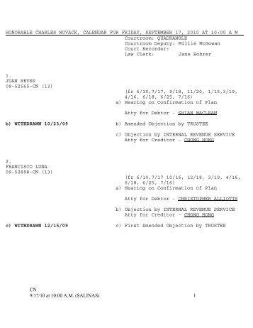 CN 9/17/10 at 10:00 A.M. (SALINAS) 1 HONORABLE CHARLES ...