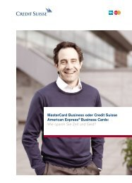 MasterCard Business oder Credit Suisse American Express ...