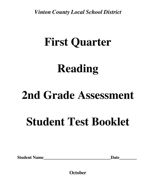 First Quarter Reading 2nd Grade Assessment Student Test Booklet