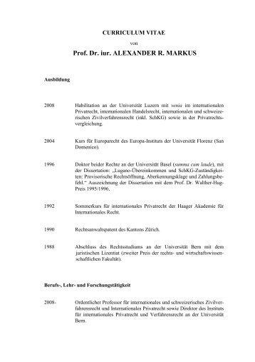 Prof. Dr. iur. ALEXANDER R. MARKUS - Institut für Internationales ...