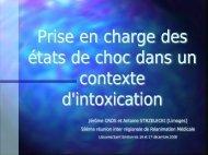 Prise en charge des états de choc dans un contexte d'intoxication