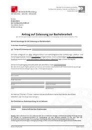 Antrag auf Zulassung zur Bachelorarbeit
