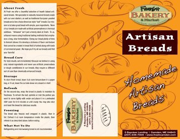 Artisan Bread Menu