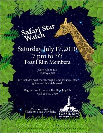 Safari Star Watch - Fossil Rim Wildlife Center