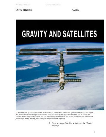 1 UNIT 3 PHYSICS NAME:  There are many Satellite ... - PEGSnet
