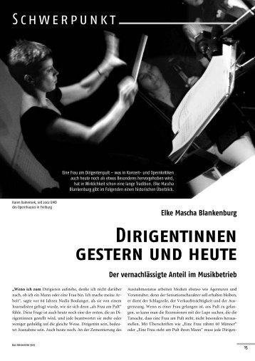 Elke Mascha Blankenburg Dirigentinnen gestern und heute Der ...
