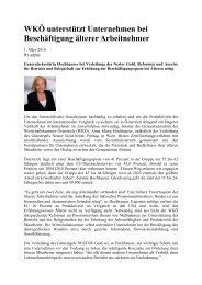 WKÖ unterstützt Unternehmen bei Beschäftigung älterer ... - Nestor