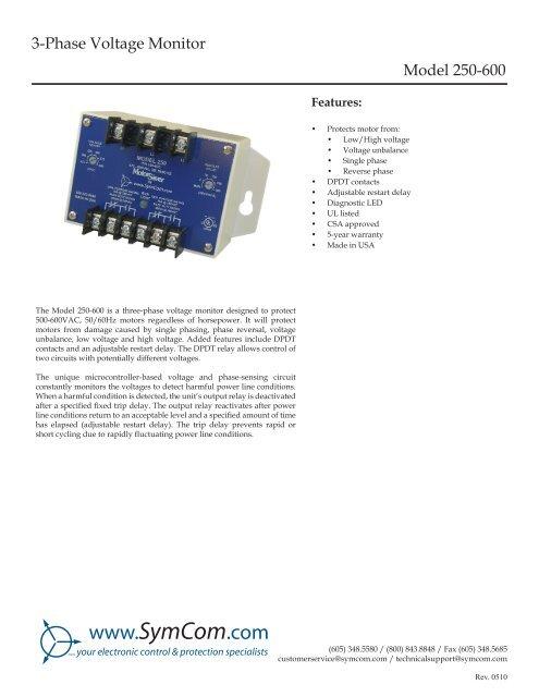 3-Phase Voltage Monitor Model 250-600 - SymCom