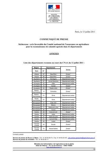 Liste des départements reconnus au cours du CNAA du 12 juillet 2011