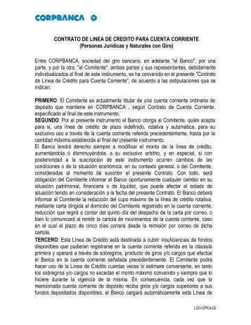 CONTRATO DE LINEA DE CREDITO PARA CUENTA ... - Corpbanca