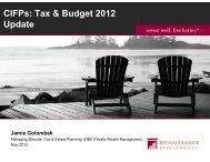 CIFPs: Tax & Budget 2012 Update