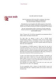 Press Release SIA-SSB LANDS IN POLAND With the opening of the ...
