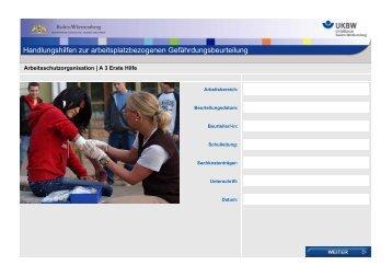 Handlungshilfe: A3 Erste Hilfe - Gefährdungsbeurteilung an Schulen