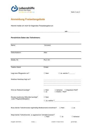Anmeldeformular - Lebenshilfe Ennepe-Ruhr/Hagen eV
