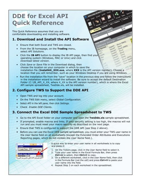 DDE for Excel API Quick Reference - Interactive Brokers