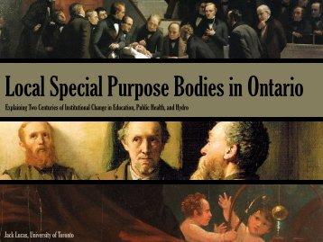 Local Special Purpose Bodies in Ontario - University of Toronto