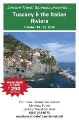 TUSCANY & THE ITALIAN RIVIERA $3349 - 8 days, 10 meals, 13
