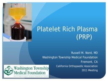 Platelet Rich Plasma (PRP) - California Orthopaedic Association