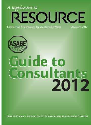 2012 Guide to Consultants - American Society of Agricultural and ...