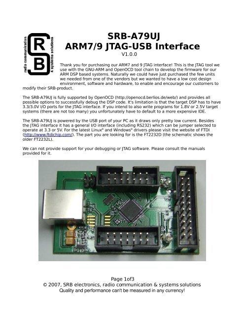 SRB-A79UJ ARM7/9 JTAG-USB Interface - RPC Electronics