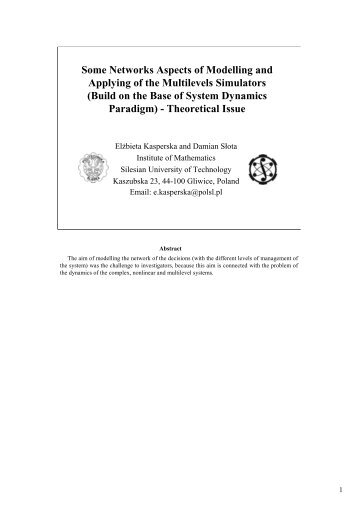 Some Networks Aspects of Modelling and Applying of ... - APNOMS