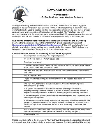 Small NAWCA worksheet - Pacific Coast Joint Venture