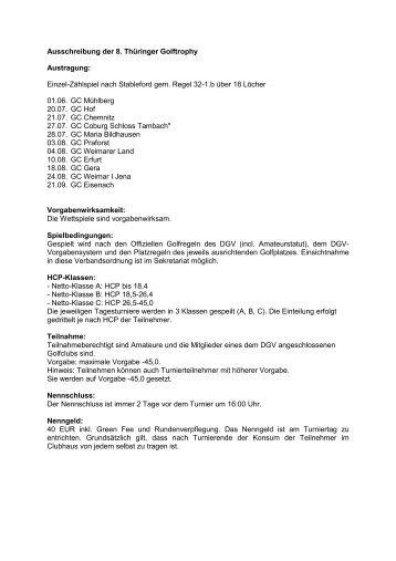 Ausschreibung der 8. Thüringer Golftrophy Austragung: Einzel ...