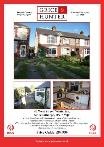 Price Guide: £89950 40 West Street, Winterton, Nr ... - Grice & Hunter