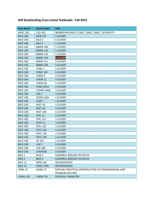 2013 Fall Quarter Book Cross-list - UCSD SPACES