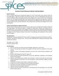 Summer Summit Resource Advisor Job Description - UCSD SPACES
