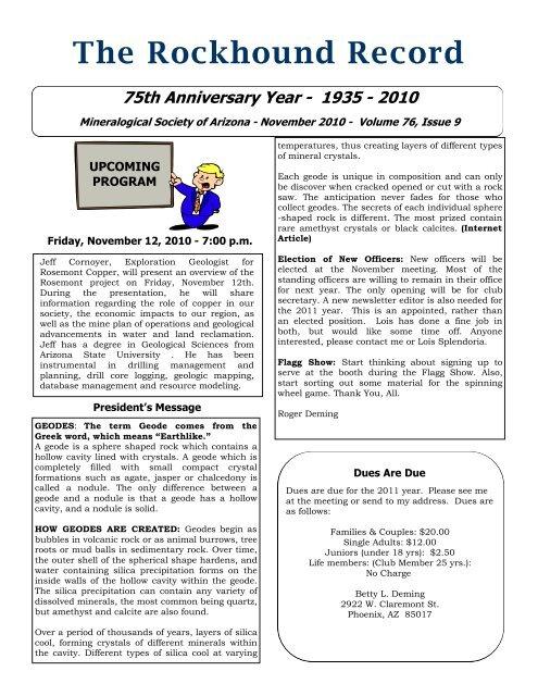 The Rockhound Record - Mineralogical Society of Arizona