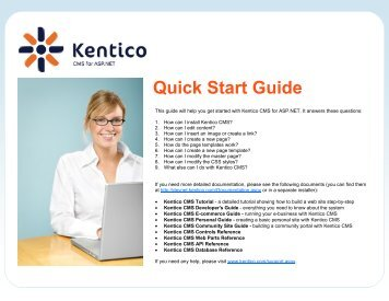 Quick Start Guide - DevNet - Kentico CMS for ASP.NET