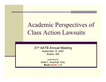 Academic Perspectives of Class Action Lawsuits