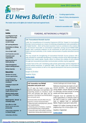 Irish Regions Brussels Office EU News Bulletin no 92 June 2012.pub