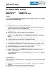 Job Specification - Muddy Boots Software