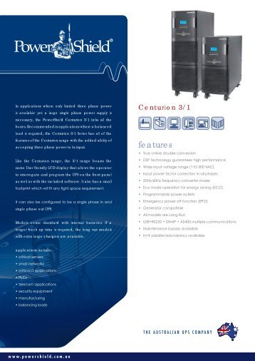 PowerShield Centurion 3-1 UPS Brochure