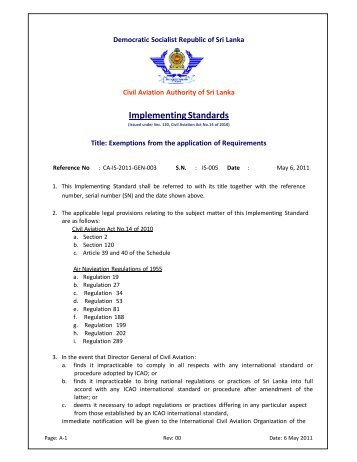 Implementing Standards - Civil Aviation Authority of Sri Lanka