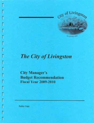 FY 2009-10 Line-Item Budget - City of Livingston, Montana