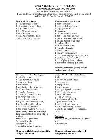 Elem Supply Lists - Cascade School District