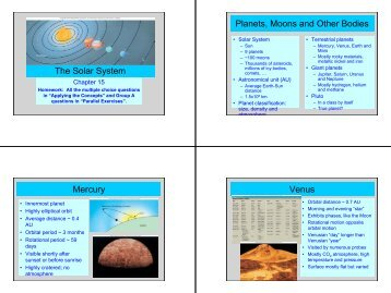 The Solar System Planets, Moons and Other Bodies Mercury Venus
