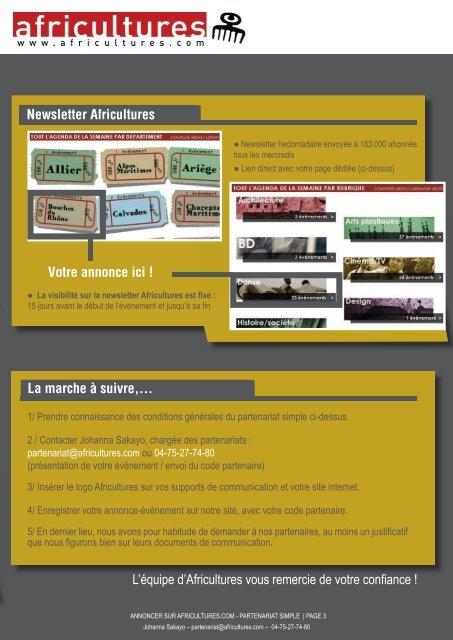 Partenariat simple (gratuit) AVANTAGES* - Africultures