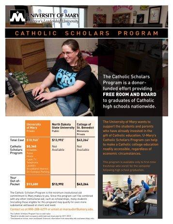 CaThOlIC SChOlarS PrOgraM - University of Mary
